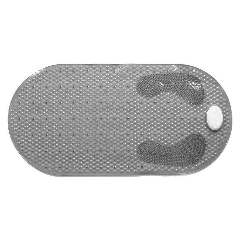 Αντιολισθητικό Μπανιέρας Γκρι Με Ενσωματωμένη Ελαφρόπετρα 80x40εκ