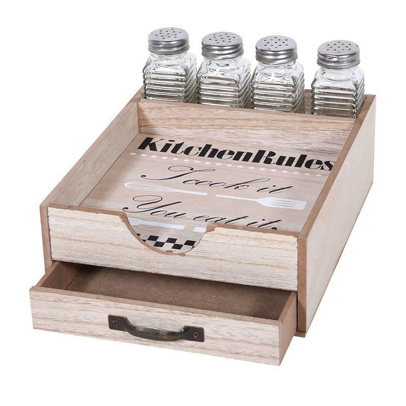 Κουτί Ξύλινο Αποθήκευσης Μπαχαρικών/Χαρτοπετσετών 20x25x14εκ