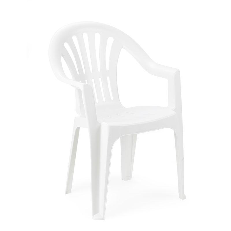 """Πολυθρόνα λευκή πλαστική """"Kona"""" 55x53.5x82εκ"""