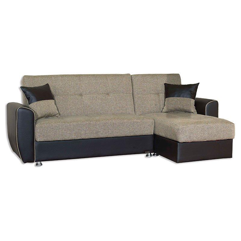 Καναπές γωνία γκρι/pu mary 0228 με αποθ. χώρο