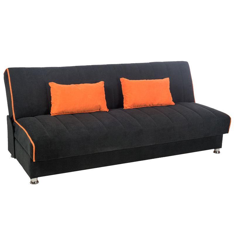 Καναπές 3 θέσεων new leon κρεβάτι μαύρο/πορτοκαλί ρίγα 53/47